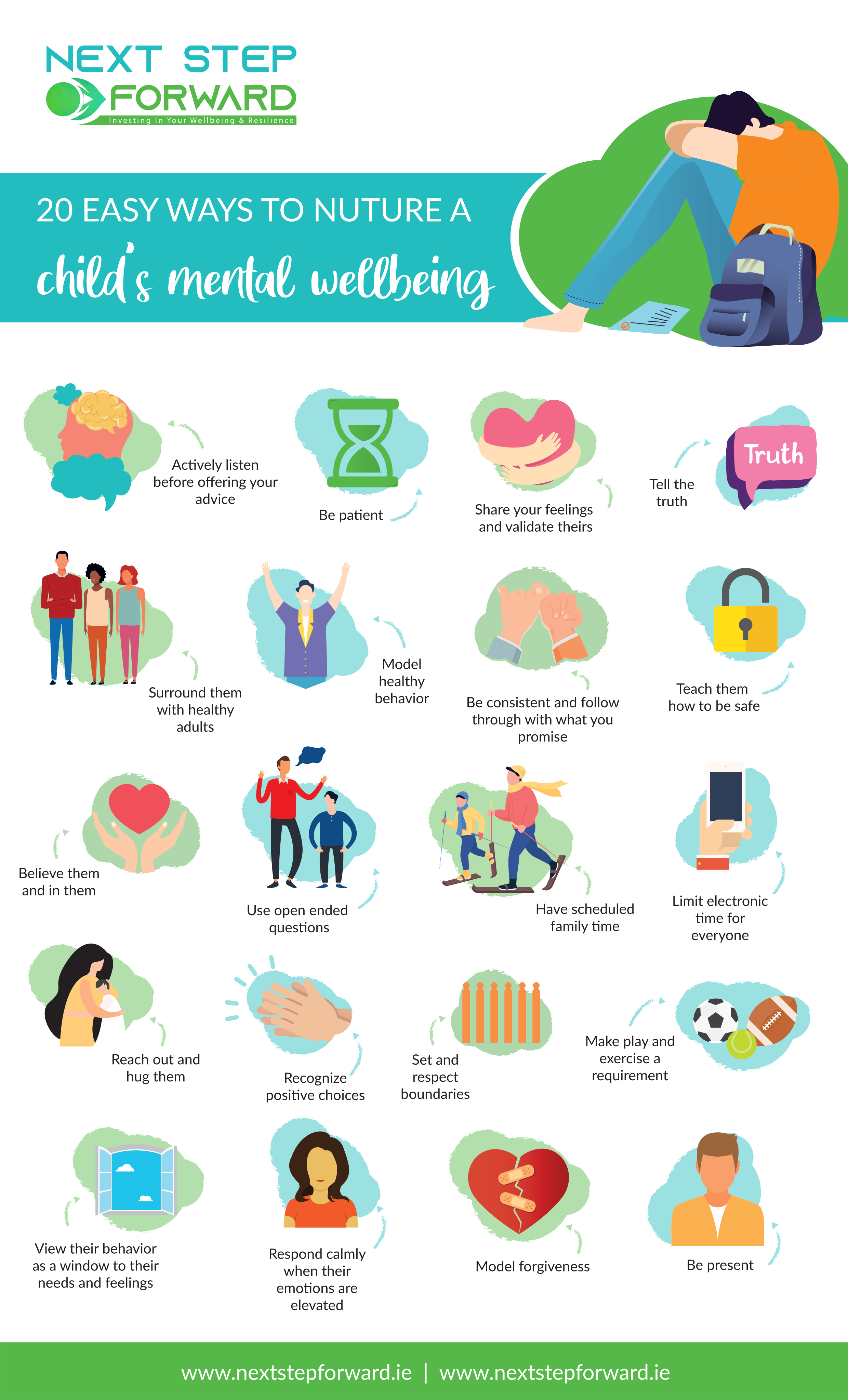 an infographic showing 20 different ways to improve a childs wellbeing